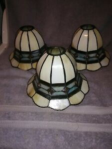 """Lot of 3 Funnel Shaped Stained Glass Chandelier Globes/Shades - 8x5""""BEAUTIFUL"""