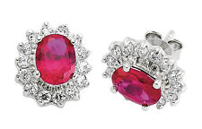 Sterling Silver Platinum Plated Ruby Oval Cluster Earrings 14 x 11mm