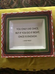 Twos Company Porcelain Desk Tray With Wise Saying New In Box
