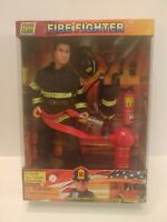"""POWER TEAM FIREFIGHTER 12"""" FULLY POSEABLE ACTION FIGURE NEW W/Accessories"""