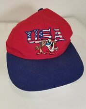 Vintage 1993 Red And Blue NICKELODEONS Ren & Stimpy U.S.A. Logo Snap-back Hat
