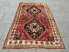 Old Hand Made Traditional Persian Rug Oriental Wool Red Pink Large Rug 237x150cm