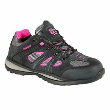Ladies Grafters Leather Suede SB Safety Trainers Grey Pink Lace-up Size