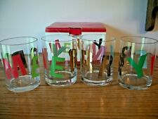 """New ListingMerry Christmas Glasses On The Rocks or Juice By Design Design New In Box 4"""""""