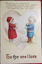 VALENTINE KIDS Signed Artist ELLEN CLAPSADDLE Post Card 1913 CHILDREN IN SNOW