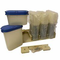 8 Tupperware Modular Spice Rack Holder Containers Blue 1843-20 & 1846-22 Bracket