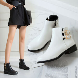 Women's Fashion Round Toes Flats Heel Casual PU Ankle Boots Shoes Solid