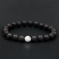 Two Color Zodiak Lava Stone Black White Marble Pattern Beads Yoga Healing Black