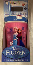 Snackeez Jr 2 In 1 Snack & Drink Cup. Disney Frozen. 8 Oz Drk ,4 Oz Snk NEW Pink