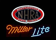"New Miller Lite Nhra Drag Racing Bar Neon Light Sign 17""x14"""