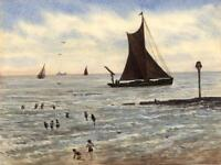 THAMES BARGE OFF BROADSTAIRS Watercolour Painting JOHN F RICHARDSON 1984