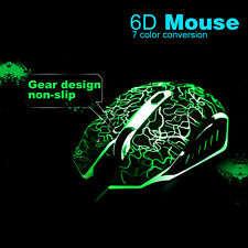 Optische Gaming Maus Mouse PC Laptop Notebook 2400 DPI USB 6 Tasten LED