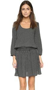 Soft Joie M Zandi Dress Caviar Black Abstract Lightweight Smocked Elastic size M