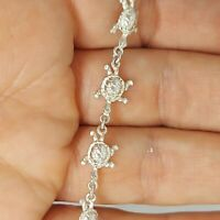 Sterling silver 925 solid jewellery bracelet 7 inches chain sea turtle S103.