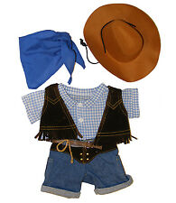 "Cowboy w/Hat and Scarf Outfit Teddy Bear Clothes Fits 8""-10"" Webkinz and More"
