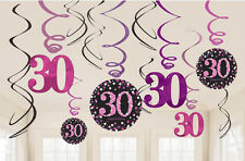 12 x 30th Birthday Hanging Swirls Black & Pinks Party Decorations Age 30 FREE PP