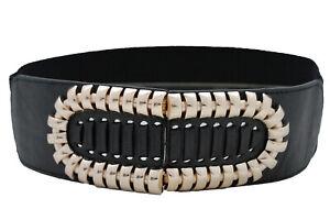 Women Fashion Black Faux Leather Belt Gold Metal Stripes Oval Shape Buckle S M L