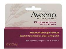 New Aveeno 1% Hydrocortisone Anti-Itch Relief Cream 1 Oz