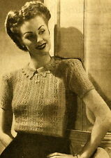 42e912a7c3ac27 Vintage 1940s knitting pattern-how to make this pretty lace stitch ladies  jumper