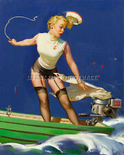 ANTIQUE 8X10 PHOTO REPRINT HOT WOMAN WITH SKIRT CAUGHT N FLYWHEEL OUTBOARD MOTOR