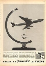 """1963 Braniff Airways Airlines """"How to Get around in the New World"""" PRINT AD"""