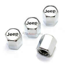 (4) Jeep Silver Logo Chrome ABS Tire/Wheel Stem Air Valve Car Truck Caps Covers