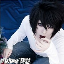 hot! DEATH NOTE L·Lawliet Short Layered Black Cosplay Anime Hair Wig