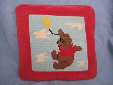 Vintage Winnie the Pooh Bear Original Needlework Pillow Yellow Balloon Sky Cloud
