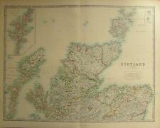 1887 LARGE VICTORIAN MAP ~ SCOTLAND NORTHERN ~ SHETLAND ORKNEY ISLANDS ROSS etc
