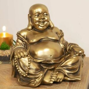 Chinese Laughing Fat Buddha Figurine Ornament Statue Bronze Effect Buddhism 22cm