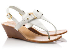 NEW TORY BURCH Casey T-Strap Logo Leather Wedge Thong Sandal 11 M Bleach/Natural