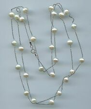 "36"" LONG 925 STERLING SILVER & WHITE FRESHWATER PEARL BY THE YARD NECKLACE"