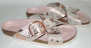 Birkenstock Siena Big Buckle Metallic Rose Pink Copper Sandals Shoes Size 39 8.5