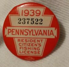 New listing Vintage 1939 Pa Pennsylvania Resident Fishing License Button Pin With Paper