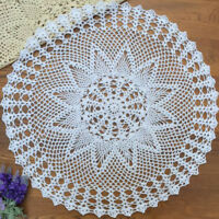 White Vintage Hand Crochet Lace Tablecloth Round Cotton Table Cloth Floral 23""
