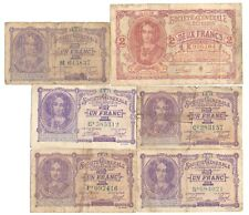 More details for 6x belgium german occupation wwi banknotes 1 & 2 francs 1915 issue 1915 1916