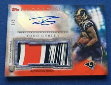2015 Topps Inception Orange Todd Gurley RPA RC 3-Color Glove Patch AUTO #d 1/5!!