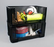 64l Extra Strong Open Fronted Order Picking Stacking Ventilated Plastic Boxes 4 Black