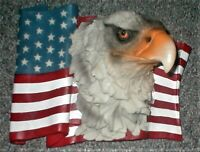 """Eagle Head on USA Flag 11""""x9""""x6"""" Hand Painted Resin Wall Art, DWK Corp, Preowned"""
