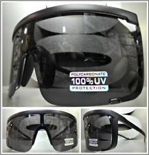 ec7b2f147f OVERSIZED EXAGGERATED VINTAGE RETRO SHIELD Style SUN GLASSES Black Frame    Lens