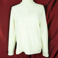 Precious Fibers 100% Cashmere Cream Ivory Turtle neck  Long Sleeve Sweater Sz L