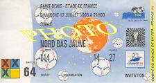 Photo Ticket Billet France 98 Zidane Brésil 1998 finale