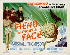 """Fiend Without A Face 8 Lobby Card Set 1958 Cards 2-8 NM, Title card VGF 2"""" tear"""