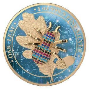 Germania 2019 5 Mark Oak Leaf - Bejeweled Spider - 1 Oz Silver Coin