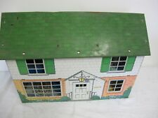 VINTAGE MARX DOLLHOUSE 2 STORY 5 ROOM METAL TIN  COLONIAL TOY SOLDIER FURNITURE