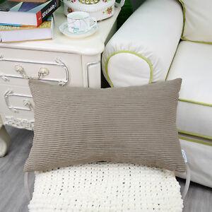 "Pillows Covers Cases Cushion Covers Home Sofa Decor Soft Corduroy Stripes 12x20"""