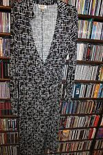 Talbots black w white pattern Wrap Dress Ladies sz 12 geometric  (bin108)