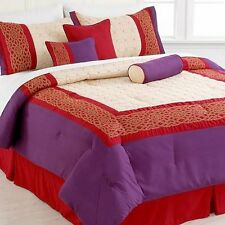 Pem America Vera Cruz 7 Piece Cal King Comforter Set Red/Purple MSRP $240