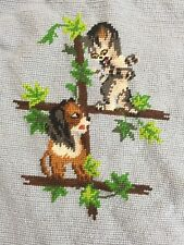 Hand Embroidered Needlepoint Pillow Top Panel Dog & Cat 12x12 3266B