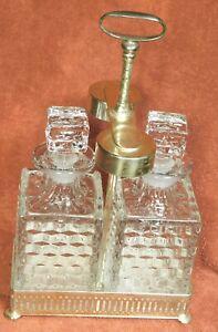 Vintage Edwardian Silver Crystal Tantalus Antique Fostoria American Decanters